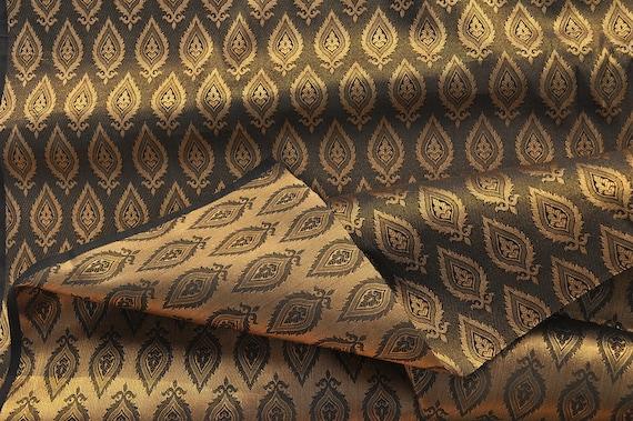 Gold Upholstery Fabric Leaf Design Silk Zari Jacquard Fabric Etsy