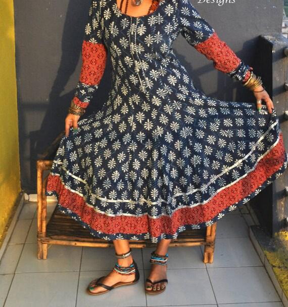 dress Block anarkali clothing to Made order wholesale Indigo print dress Gypsy supply nSHFqUxO