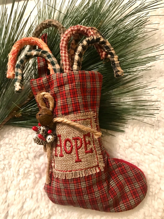 Primitive  Red And Tan Ticking Rustic Christmas Candy Cane Ornaments Set Of 12
