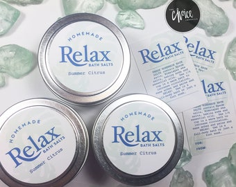 "Customizable ""Relax"" Bath Salts Labels"