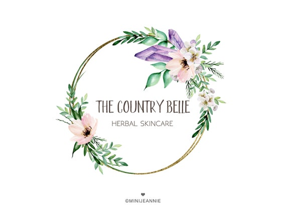 Circle Logo Round Logo Floral Logo Flower Logo Flower And Crystal Logo Gold Logo Business Logo Watercolor Logo Free Font Change