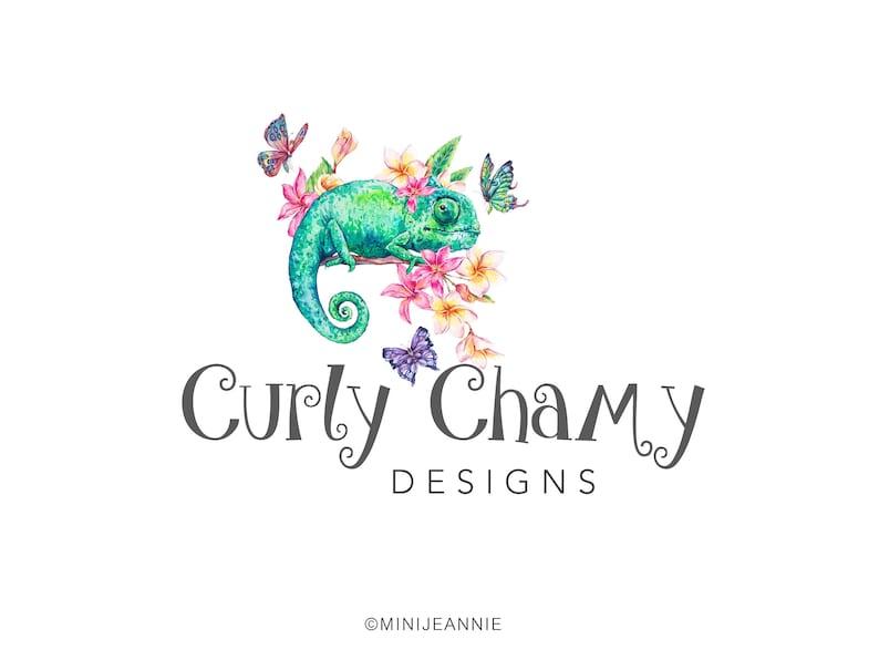 84101c4718aa7 Chameleon Logo-Gecko Logo-Iguana Logo-Lizard Logo-Zoo Logo-Animal Logo-Pet  Store Logo-Watercolor Logo-Free Font Change