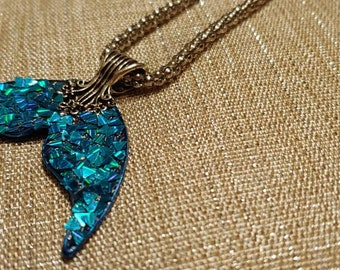 Peacock blue mermaid tail necklace