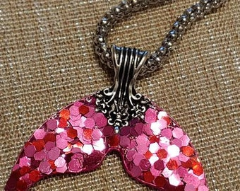 Rose color Mermaid Tail necklace