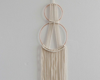 "Dreamcatcher ""Minimalist"" - Macrame Wall Hanging - 100% coton rope - Thin Copper Circles"