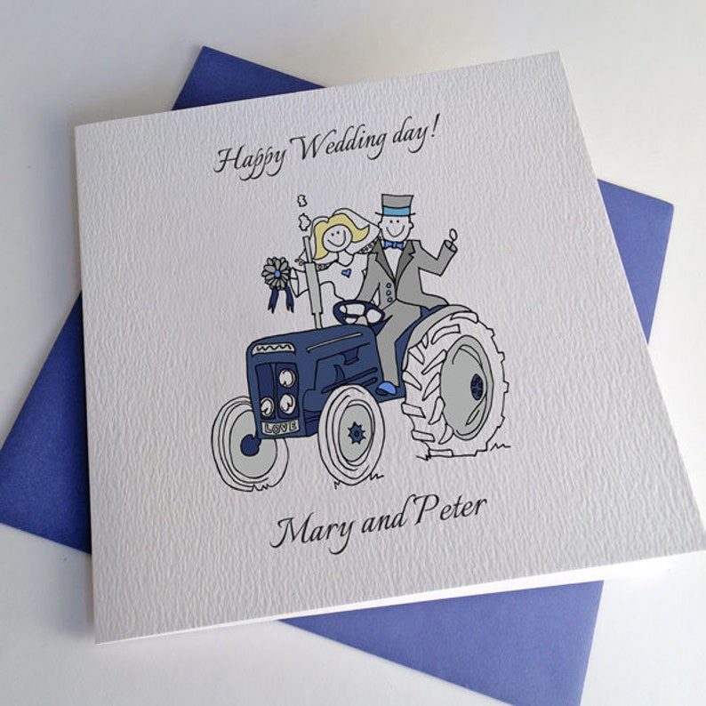 Tractor Wedding Card or Customisable Engagement Farmer Anniversary Card
