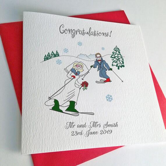 Carte Anniversaire Skieur.Une Carte De Mariage De Ski Ou Ski Carte D Anniversaire