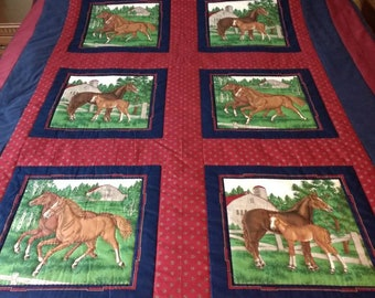 Just horsing around Twin size quilt