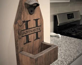 Lot of 5 - Save 10% - Personalized Beer Bottle Opener - wall mounted opener - groomsman gift