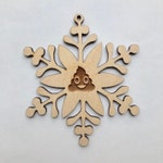 Sh*t Happens | Poopflake | Poop  Snowflake Wooden Engraved Christmas Ornaments |