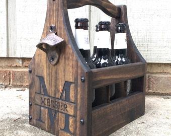 Premium Customizable Beer Caddy - Wooden Bottle Holder - Beer Tote - Tailgate - Wedding Party - Beer Lovers