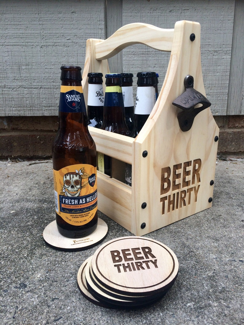 BEER THIRTY Beer Bottle Holder  Wooden Bottle Holder  Beer image 0
