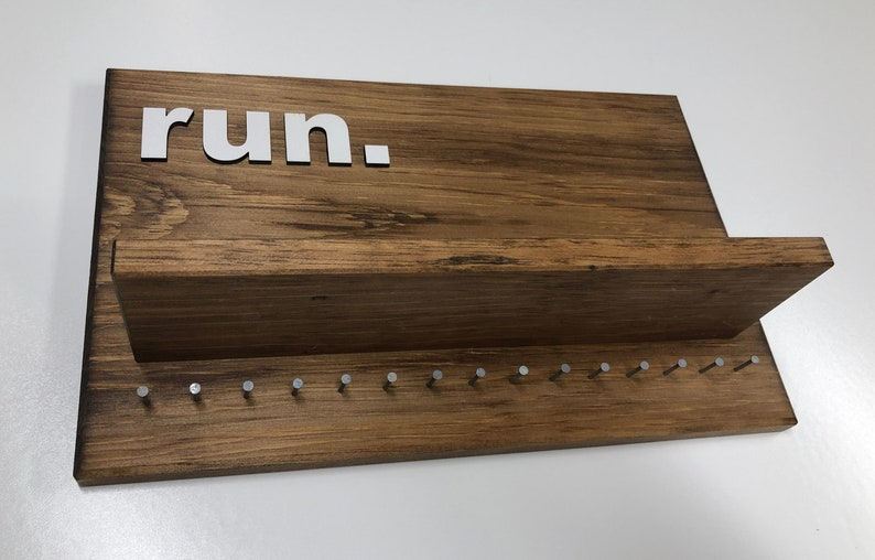 Run  Lg Wooden Medal Hanger with shelf image 0