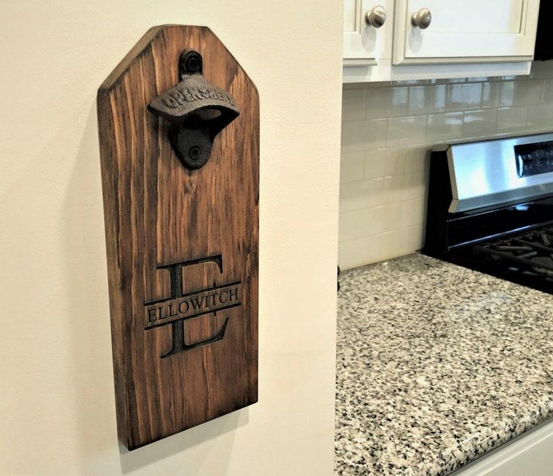 Personalized Beer Bottle Opener  Wall Mounted Opener  image 0