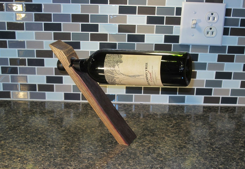 Balancing wine bottle holder  reclaimed wine barrel stave image 0