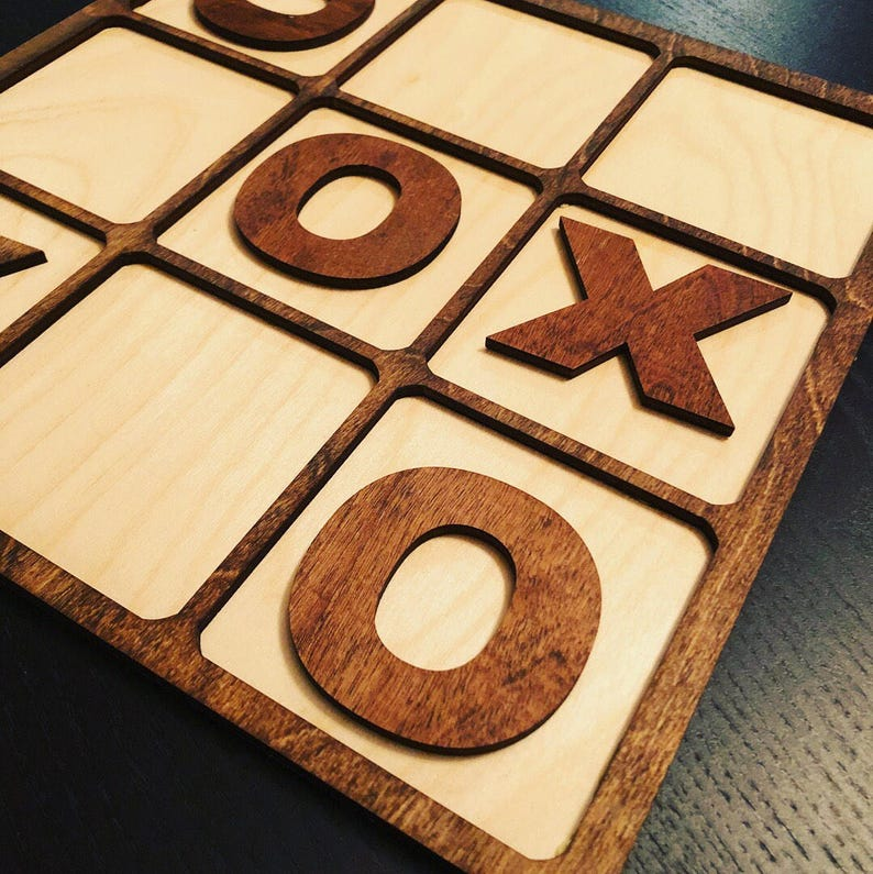 Tic Tac Toe Wooden Customizable Game image 0