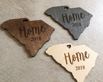 Custom States 'Home' Wooden Engraved Christmas Ornaments | Set of 4 Holiday Ornaments