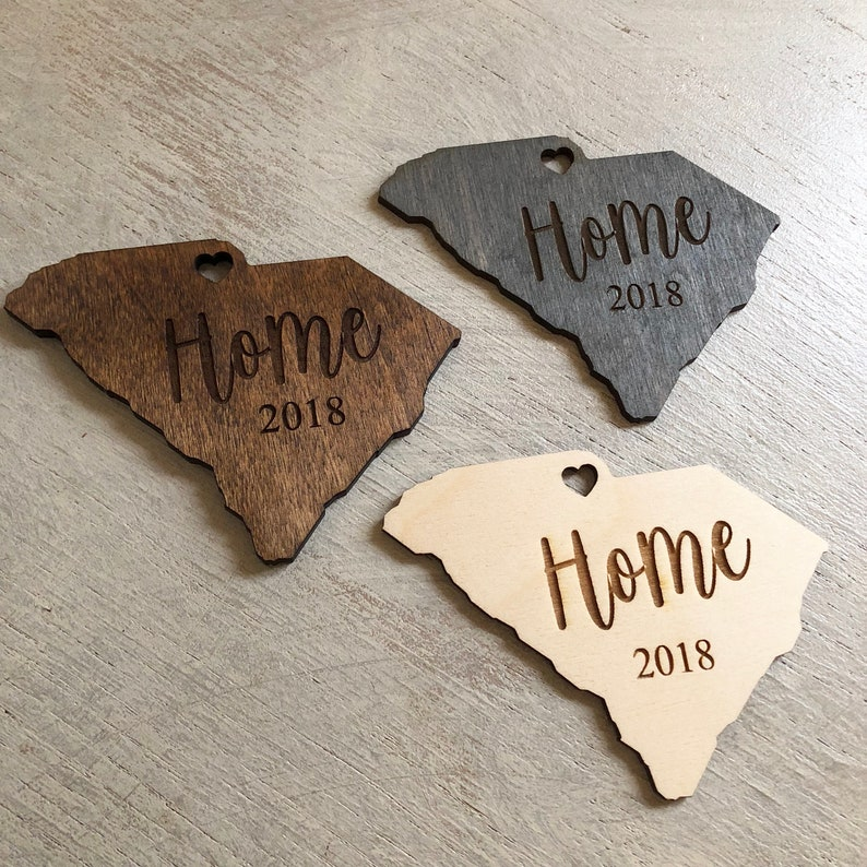 Custom States 'Home' Wooden Engraved Christmas image 0