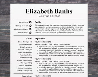 Resume Template Cv For Word Mac Pages Etsy