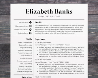 Resume Template CV Template Word for Mac or PC | Etsy