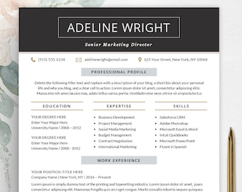 Resume Template | Professional Resume Design | Instant Download | CV Template + Free Cover Letter | Word PC and Mac - The Adeline