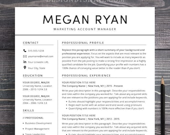 Resume Template CV Template Instant Download Professional | Etsy