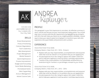Resume Template CV Template for Word Mac or PC | Etsy