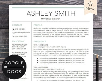 Google Docs Resume Template | Professional Resume CV Template + Free Cover  Letter | Creative, Modern Resume Maker For Google Doc   Ashley