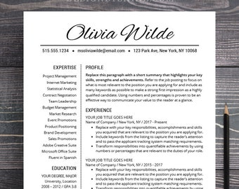 Resume Template Creative CV Teacher Professional Word Mac Pages Instant Download Free Cover Letter