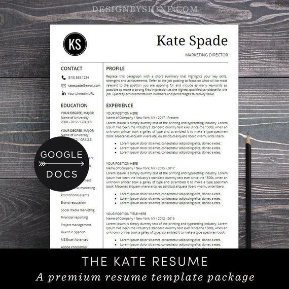 Google Docs Resume Template | Professional Resume CV Template + Free Cover  Letter | Creative, Modern Resume Maker for Google Doc - Kate