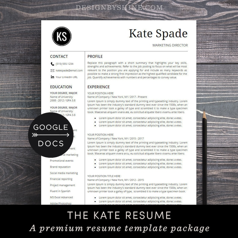 Google Docs Resume Template Professional CV