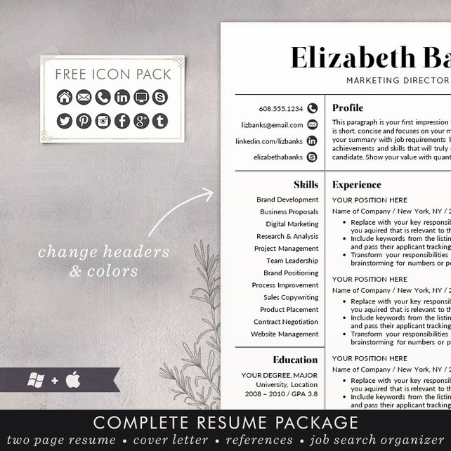Resume Template - CV Template for Word, Mac or PC