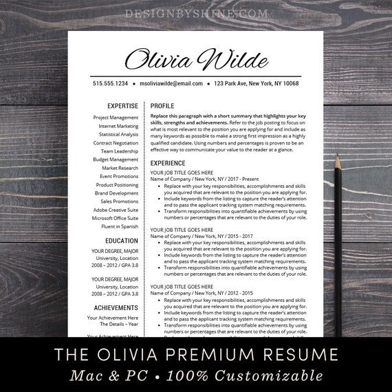Resume Template Creative Cv Template Teacher Resume Template Etsy