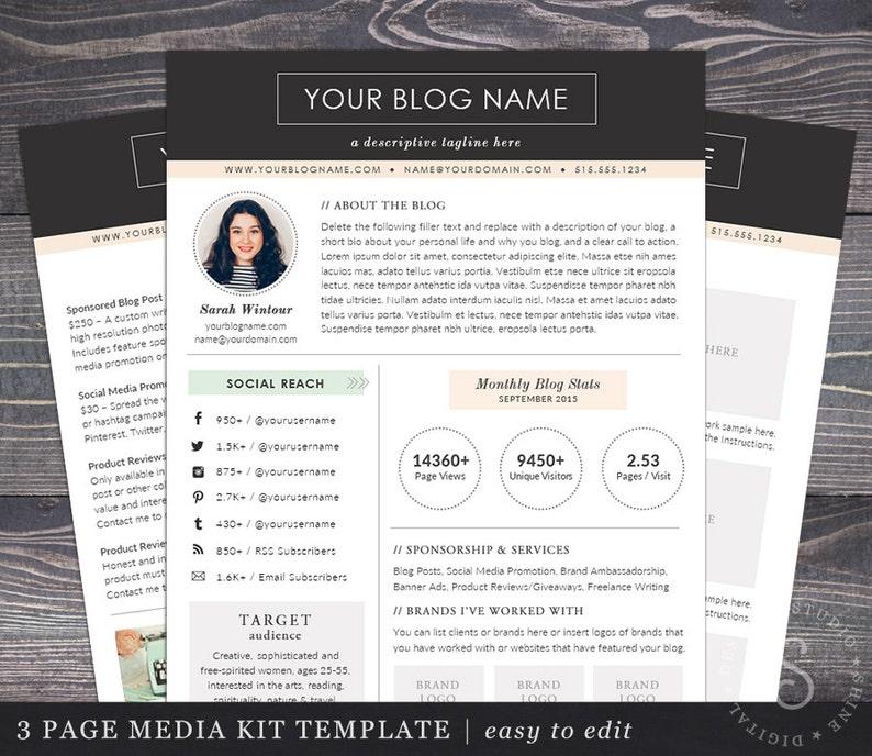 . Media Kit Template Blogger Media Kit 2 Page Blog Press Kit Ad Rate Sheet  Instagram Social Media Brand Business Word   Pages   Modern Darling