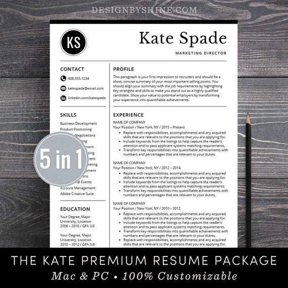 professional resume template cv template free cover letter etsy