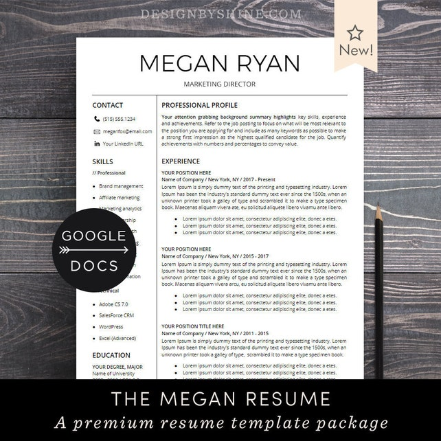 Google Docs Resume Template | Professional Resume CV Template + Free Cover Letter | Creative, Modern Resume Maker for Google Doc - Megan