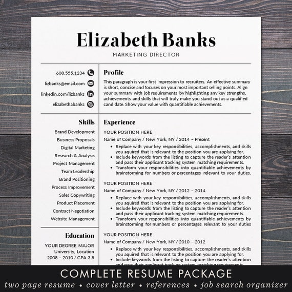 resume template cv template for word mac or pc etsy