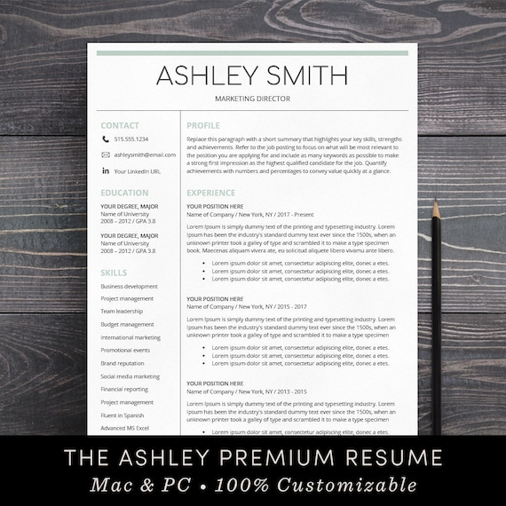 resume template instant download cover letter template mac etsy