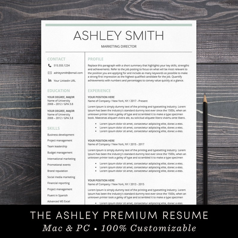Resume Template Instant Download Cover Letter Mac