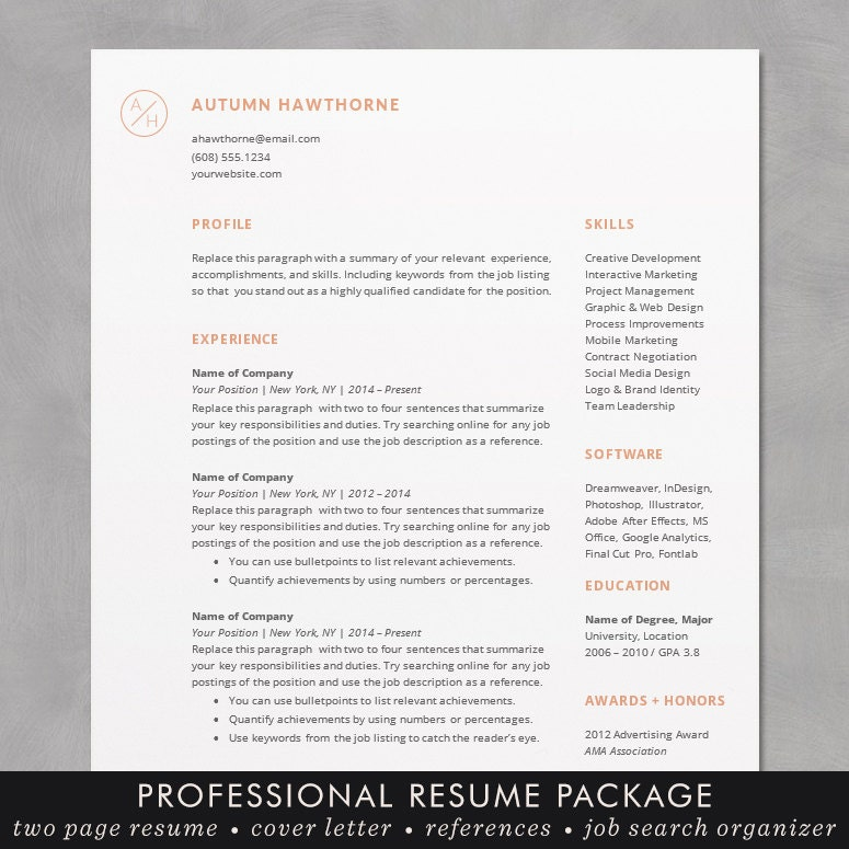minimal modern resume    cv template word mac or pc