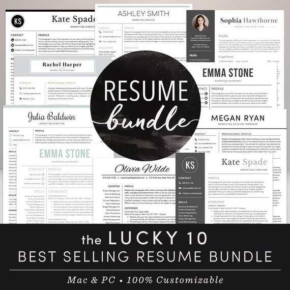 Professional Resume Templates Resume Bundle CV Creative Modern Template Mac  Pages Word Teacher Instant Download Free Cover Letter - Lucky 10