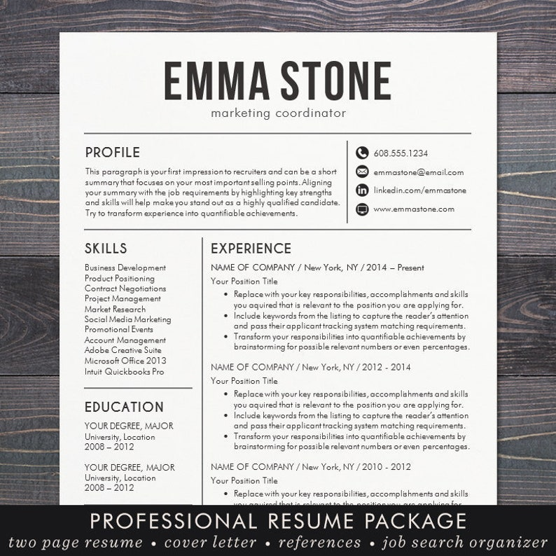 Resume Template CV Template for Word Mac Pages | Etsy