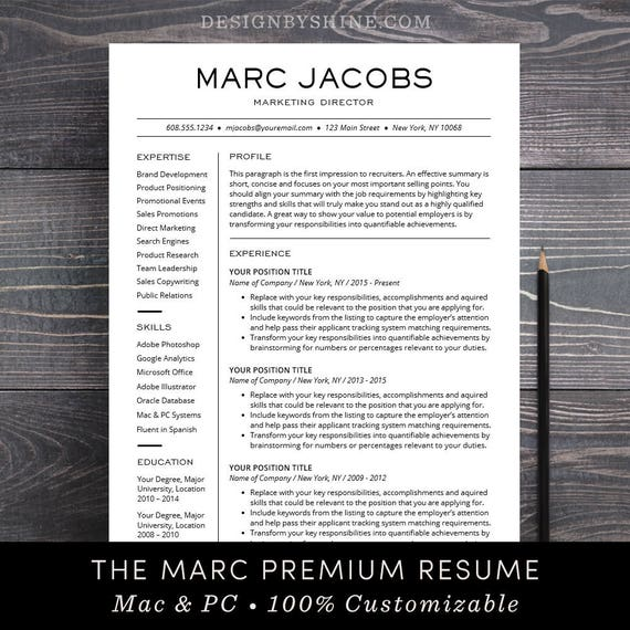 Modern Resume Template - CV Template for Pages, Word Professional Design,  Free Cover Letter, Creative, Modern, Teacher - The Marc
