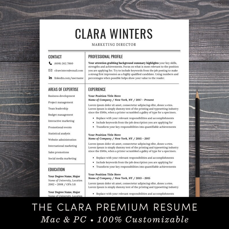 Resume Template CV Instant Download Professional