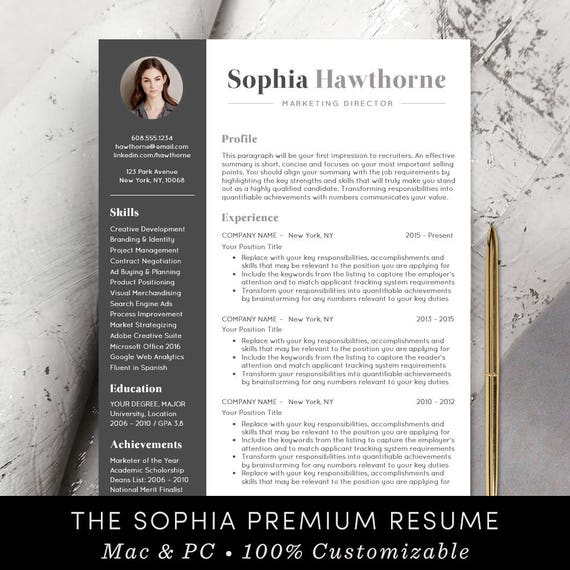 Professional Resume Template With Photo Modern Cv Word Etsy