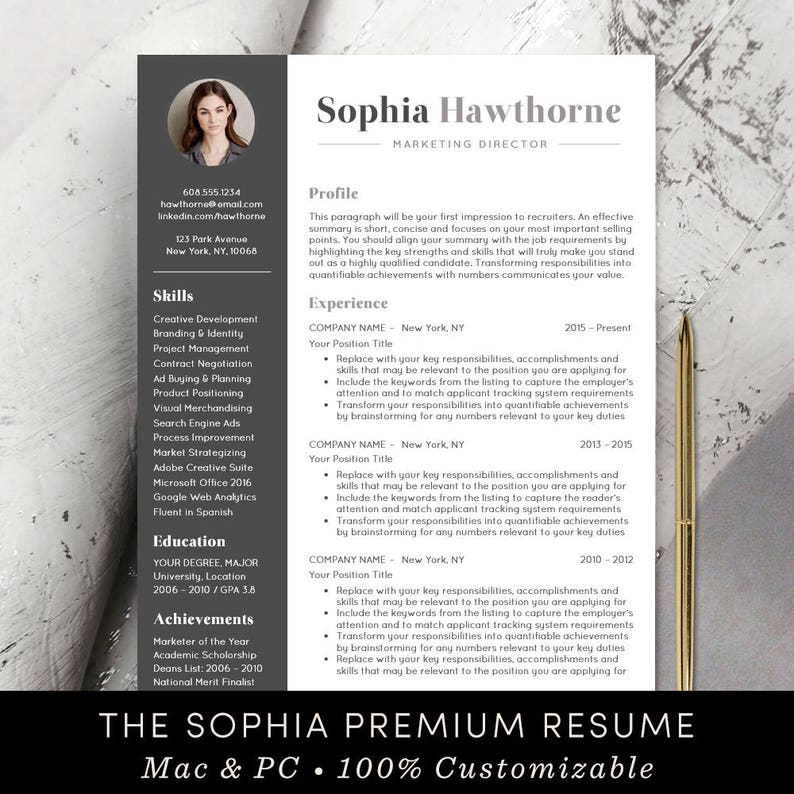 Professional Resume Template with Photo - Modern, CV, Word, Mac Pages, Free  Cover Letter, Teacher, Instant Download - The Sophia