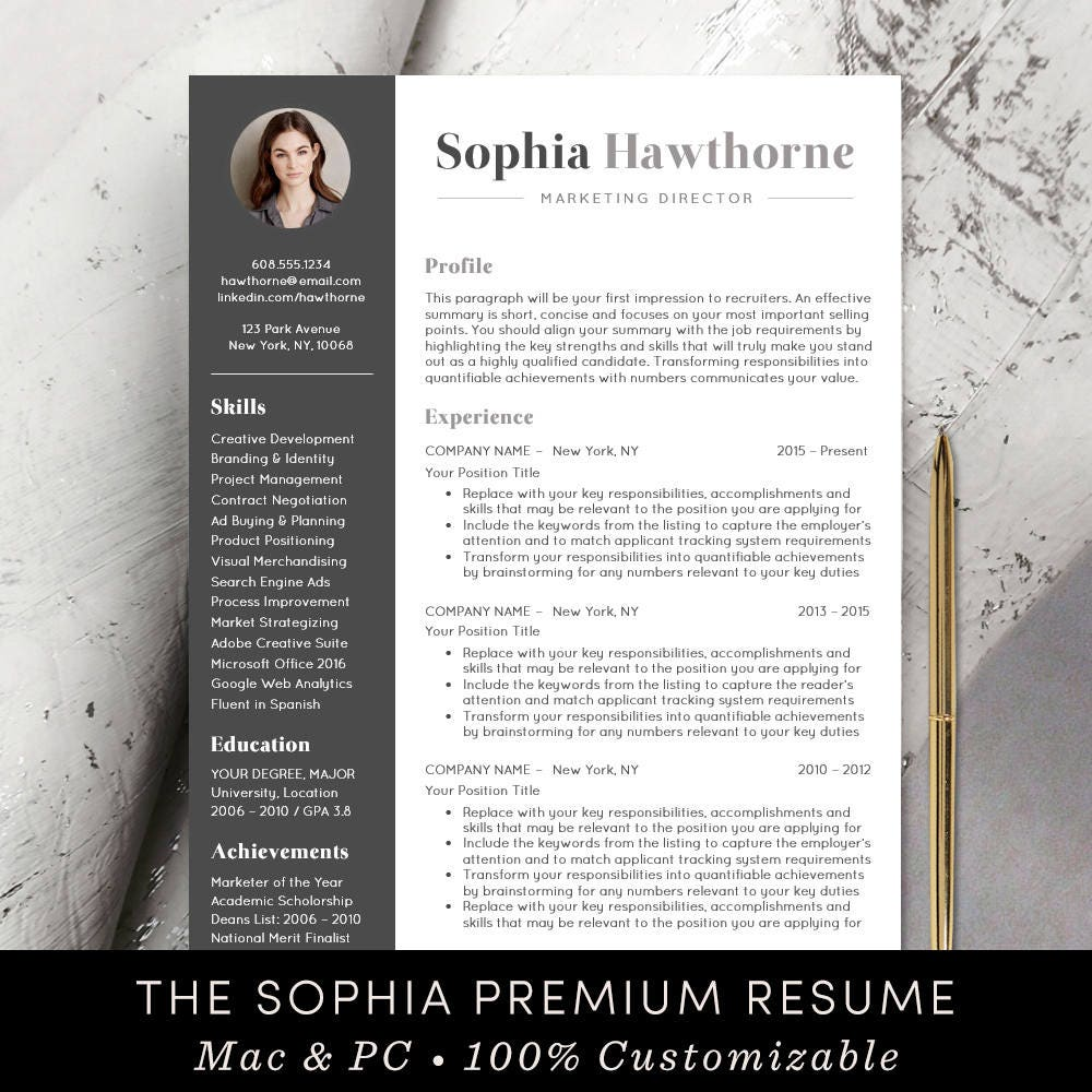 professional resume template with photo modern cv word etsy. Black Bedroom Furniture Sets. Home Design Ideas