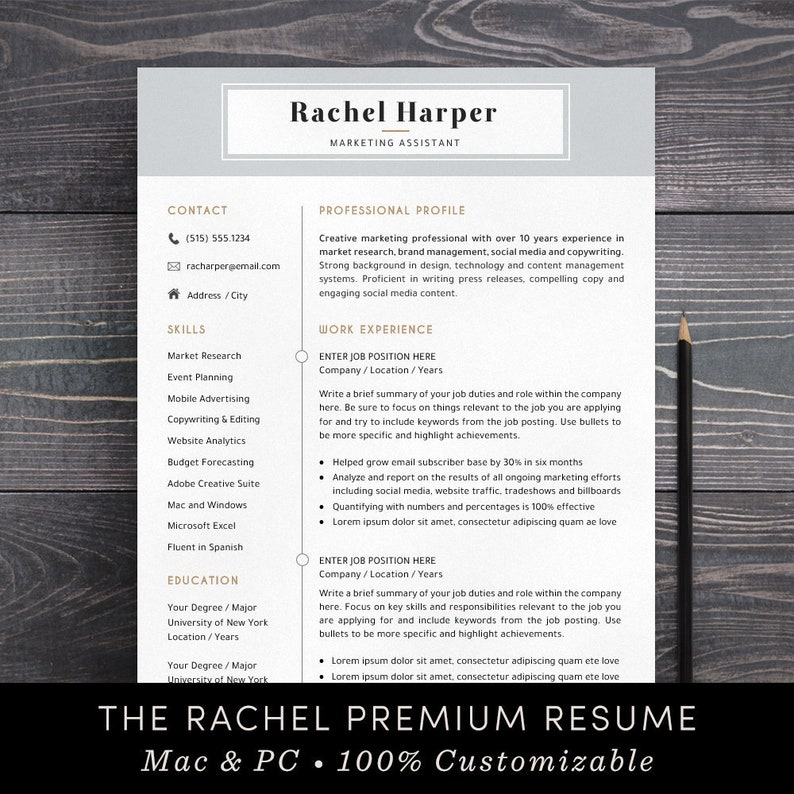 Resume Template / Professional CV Template + Free Cover Letter / Instant  Download / Mac Pages / Word, Creative, Modern, Teacher - The Rachel