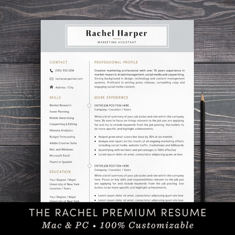 Resume Template Professional CV Free Cover Letter