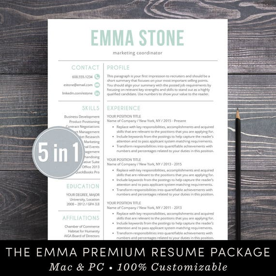 Resume Template Professional Creative Resume Instant Download Etsy